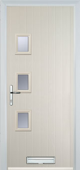 3 Square (off set) Glazed Composite Front Door in Cream