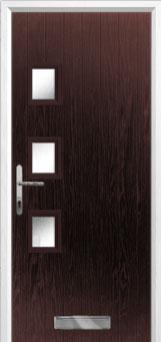 3 Square (off set) Glazed Composite Front Door in Darkwood