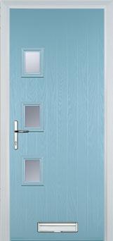 3 Square (off set) Glazed Composite Front Door in Duck Egg Blue
