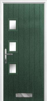 3 Square (off set) Glazed Composite Front Door in Green