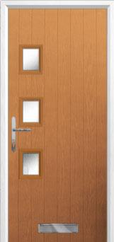 3 Square (off set) Glazed Composite Front Door in Oak