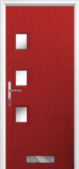 3 Square (off set) Glazed Composite Front Door in Red