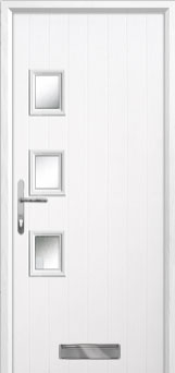 3 Square (off set) Glazed Composite Front Door in White