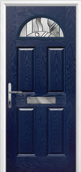 4 Panel 1 Arch Abstract Composite Front Door in Blue
