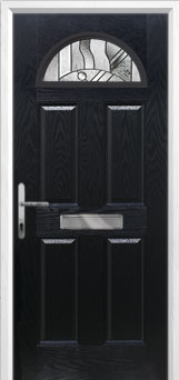 4 Panel 1 Arch Abstract Composite Front Door in Black