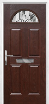 4 Panel 1 Arch Abstract Composite Front Door in Darkwood