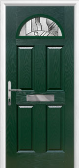 4 Panel 1 Arch Abstract Composite Front Door in Green