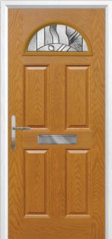 4 Panel 1 Arch Abstract Composite Front Door in Oak
