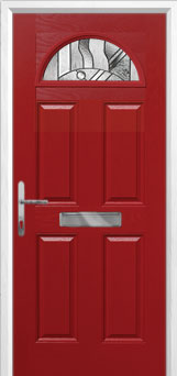 4 Panel 1 Arch Abstract Composite Front Door in Red