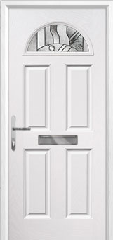 4 Panel 1 Arch Abstract Composite Front Door in White