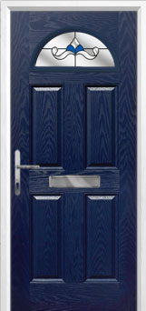 4 Panel 1 Arch Crystal Bohemia Composite Front Door in Blue