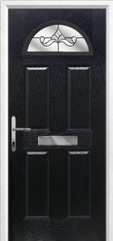 4 Panel 1 Arch Crystal Bohemia Composite Front Door in Black