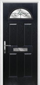 4 Panel 1 Arch Crystal Bohemia Composite Front Door in Black