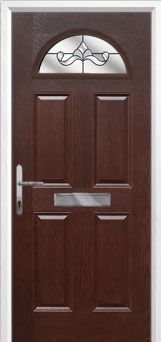 4 Panel 1 Arch Crystal Bohemia Composite Front Door in Darkwood
