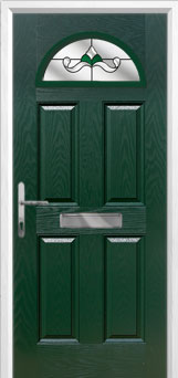 4 Panel 1 Arch Crystal Bohemia Composite Front Door in Green