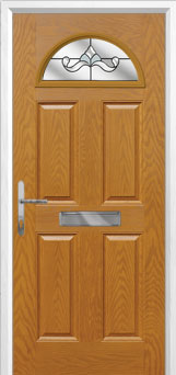 4 Panel 1 Arch Crystal Bohemia Composite Front Door in Oak