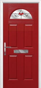 4 Panel 1 Arch Crystal Bohemia Composite Front Door in Red