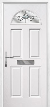 4 Panel 1 Arch Crystal Bohemia Composite Front Door in White