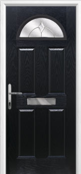 4 Panel 1 Arch Classic Composite Front Door in Black