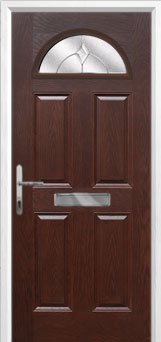 4 Panel 1 Arch Classic Composite Front Door in Darkwood