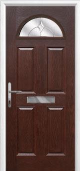 4 Panel 1 Arch Classic Composite Front Door in Darkwood