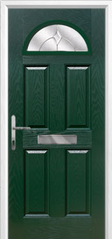 4 Panel 1 Arch Classic Composite Front Door in Green