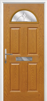 4 Panel 1 Arch Classic Composite Front Door in Oak