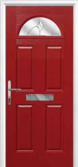 4 Panel 1 Arch Classic Composite Front Door in Red