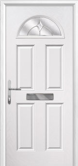 4 Panel 1 Arch Classic Composite Front Door in White