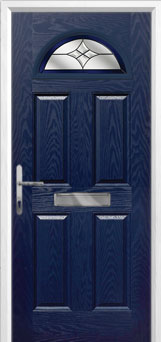 4 Panel 1 Arch Crystal Harmony Composite Front Door in Blue