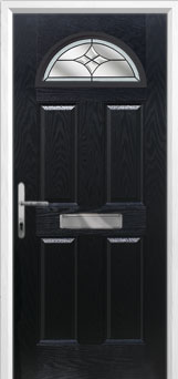 4 Panel 1 Arch Crystal Harmony Composite Front Door in Black