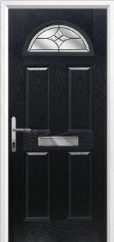 4 Panel 1 Arch Crystal Harmony Composite Front Door in Black