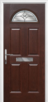 4 Panel 1 Arch Crystal Harmony Composite Front Door in Darkwood