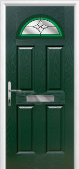 4 Panel 1 Arch Crystal Harmony Composite Front Door in Green