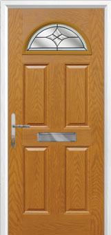 4 Panel 1 Arch Crystal Harmony Composite Front Door in Oak
