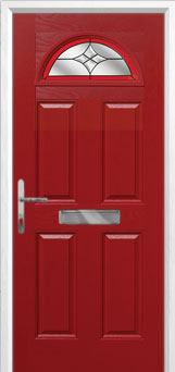 4 Panel 1 Arch Crystal Harmony Composite Front Door in Red
