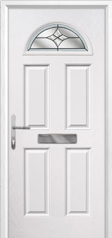 4 Panel 1 Arch Crystal Harmony Composite Front Door in White