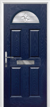 4 Panel 1 Arch Zinc/Brass Art Clarity Composite Front Door in Blue