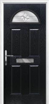 4 Panel 1 Arch Zinc/Brass Art Clarity Composite Front Door in Black