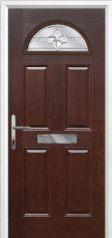 4 Panel 1 Arch Zinc/Brass Art Clarity Composite Front Door in Darkwood