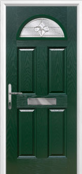 4 Panel 1 Arch Zinc/Brass Art Clarity Composite Front Door in Green
