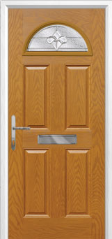4 Panel 1 Arch Zinc/Brass Art Clarity Composite Front Door in Oak