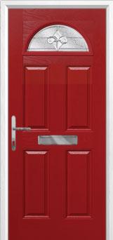 4 Panel 1 Arch Zinc/Brass Art Clarity Composite Front Door in Red