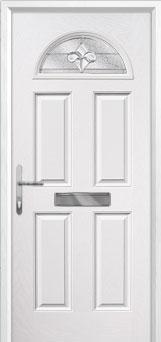 4 Panel 1 Arch Zinc/Brass Art Clarity Composite Front Door in White