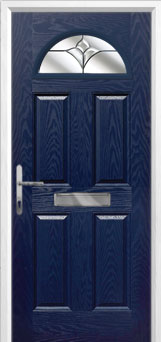 4 Panel 1 Arch Crystal Tulip Composite Front Door in Blue