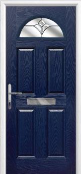 4 Panel 1 Arch Crystal Tulip Composite Front Door in Blue