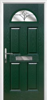 4 Panel 1 Arch Crystal Tulip Composite Front Door in Green
