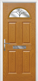 4 Panel 1 Arch Crystal Tulip Composite Front Door in Oak