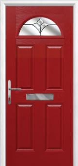 4 Panel 1 Arch Crystal Tulip Composite Front Door in Red