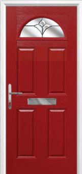 4 Panel 1 Arch Crystal Tulip Composite Front Door in Red
